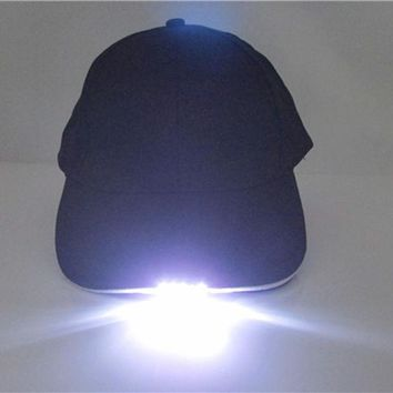 Super Bright Led Cap Glow In Dark For Reading Fishing Jogging Led Lights Sport Hat 2 Modes Baseball Caps 5 Led Lights Hats