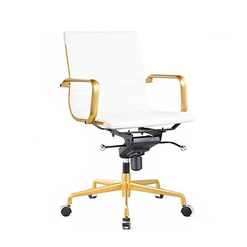 Decade White + Gold Modern Classic Aluminum Office Chair (Set of 2)