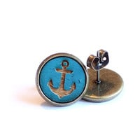 Tiny Stud Earrings, Anchor Earrings, Navy Blue Earring Studs, Summer Earrings