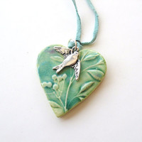 Heart pendant spring green turquoise pink by damsontreepottery
