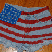 "American Flag ""National Anthem"" Lana Del Rey inspired denim high waist shorts"