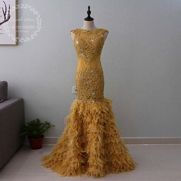 African Black Girls Feather Prom Dresses Mermaid High Neck Lace Appliques Beaded Sheer Pageant Party Gowns Vestido de Fiesta