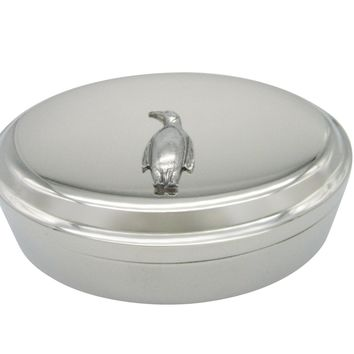 Silver Toned Textured Penguin Bird Pendant Oval Trinket Jewelry Box