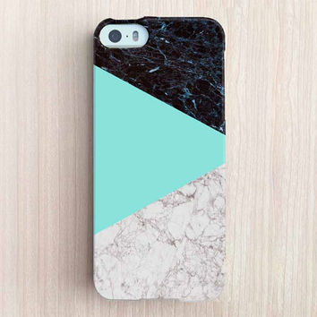 iPhone 6 Case, iPhone 6 Plus Case, iPhone 5S Case, iPhone 5 Case, iPhone 5C Case, iPhone 4S Case, iPhone 4 Case - Marble Color Block Mint