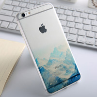 Fashion Thin Soft Silicone Mountain Transparent Back Cover Case For Apple iPhone SE 5s / 6 6s / Plus