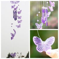 2016 New Creative Crystal Butterfly Wind Chime Bell Ornament Living Hanging Wind Chimes Outdoor Indoor Garden Home Decor Gift
