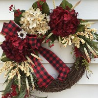 Hydrangea wreath for front door, Fall door wreath, Christmas Wreath, red buffalo ribbon, front door hanger, All season wreath, Autumn wreath