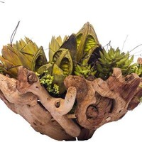 Mixed Dried In Small Wood Planter