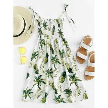 Pineapple Print Frill Detail Knot Cami Dress
