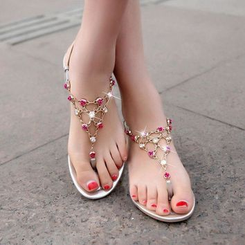 PEAPON Fashion diamond chain flat sandals