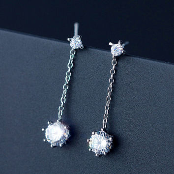 Simple inlaid zircon 925 sterling silver earrings ,a perfect gift