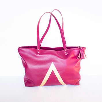 Magenta Gold Leather Shopper, Lined Zipper Tote, Geometric Hobo Bag, Everyday Tote Bag, Laptop Purse, Mother's Day Gift