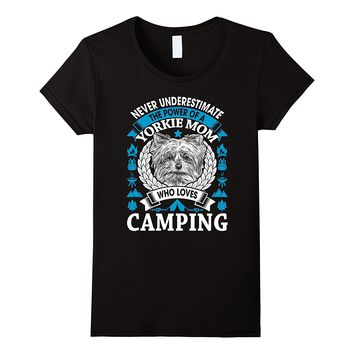 Womens Camping Yorkie Dog Mom T-shirt