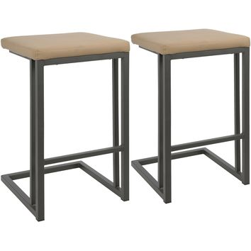 Roman Industrial Counter Stools with Camel PU Leather, Grey (Set of 2)