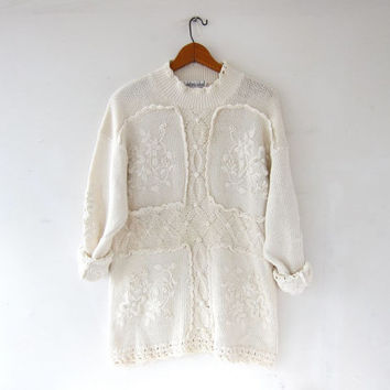 vintage natural white sweater. oversized textured sweater. tunic sweater. long sweater. popcorn floral knit jumper