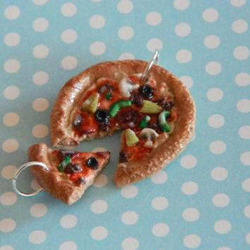 2 best friends polymer clay pizza charm jewelry necklace supreme