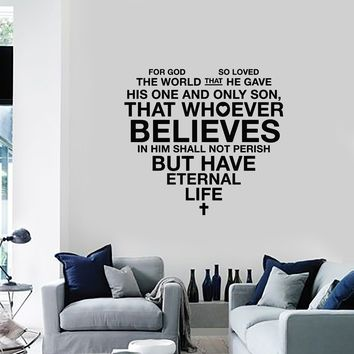 Vinyl Wall Decal Bible Verse Heart Christianity Religion Home Interior Stickers Mural (ig5691)