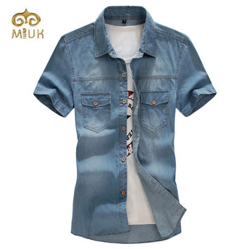 2016 Big Size 6XL Turn-down Collar 5XL 4XL 3XL Blue camisa masculina men Casual  Denim Shirt  Clothing