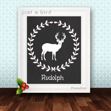 Deer Art Print, Deer print, Deer head, Deer antler, Cristmas print, holiday decor - Rudolph the Red-Nosed Reindeer Christmas printable