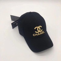 CHANEL Embroidered Logo Fashion Baseball Cap F