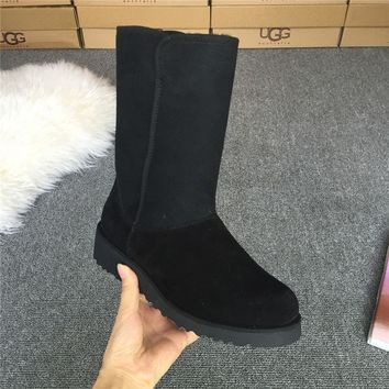 ESBON UGG 1012497 Wedges Tall Women Fashion Casual Wool Winter Snow Boots Black