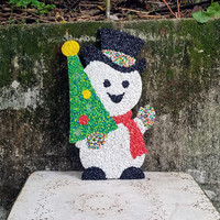 Vintage Plastic Melted Popcorn Snowman Christmas Wall Decoration