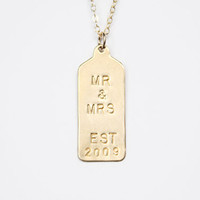 Hand Stamped Necklace - Rectangle Tag - Mr and Mrs Custom Tag