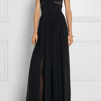 Elie Saab - Lace-trimmed stretch-knit and chiffon gown