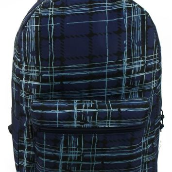 "17"" Blue Plaid Print Backpack"