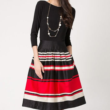 Stripe women dress Long Sleeve dress Black Red Lady dress