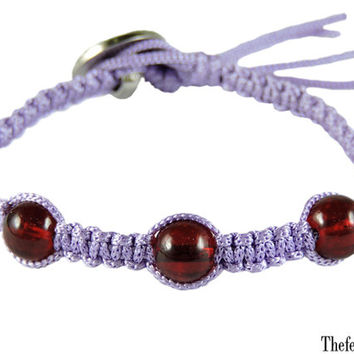 Hippie Friendship Bracelet, Square Knot Handmade Bracelet, Pastel Purple Rayon Cord Bracelet- Choose your own color & size
