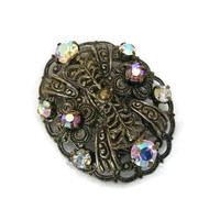 Vintage Victorian Revival Filigree Brooch Pin, AB Rhinestone Filigree Brooch, Art Nouveau Style Brooch Pin, Victorian Wedding Brooch Jewelry