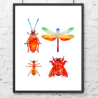 Beetles watercolor art print - butterfly and bugs wall art - nature art illustration - home wall decor