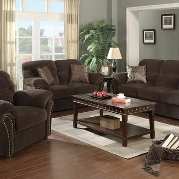 Acme 50950 2 pc patricia collection chocolate brown velvet fabric upholstered sofa and love seat set with nail head trim