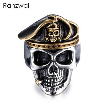 Ranzwal Personalized Stainless Steel Skull Rings for Men Eagle Beret Hat Skeleton Ring Punk Jewelry US SIZE 8~13 MRI037