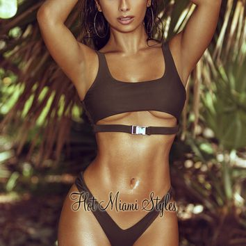Olive Cut Out Buckle Underboob Bikini