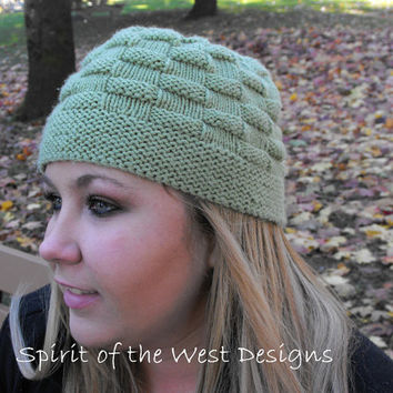 Picnic Lunch Cloche / Hat - Knitting Pattern - Winter hat, toque, teens, cloche, button, beanie, earwarmer, fall pattern, textured hat, easy