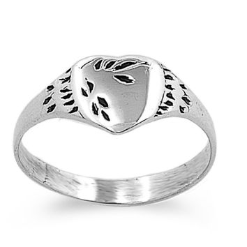 Sterling Silver Tainted Heart 4MM Petite Ring