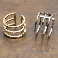 Tiered Ring With Rhinestone Center - Gold