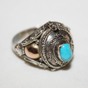 Vintage Sterling Ring Turquoise Filigree Poison GF  1930s Jewelry