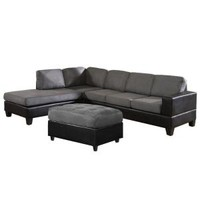 Venetian Worldwide, Dallin Gray Microfiber Sectional Sofa with Ottoman -Left, MFS0003-L at The Home Depot - Mobile