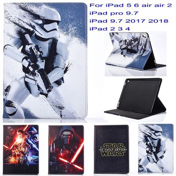 Star Wars Force Episode 1 2 3 4 5 New Fashion Movie  Cartoon pu leather Stand case cover for apple ipad 5 6 air air 2 ipad 2 3 4 iPad 9.7 2017 2018 case AT_72_6