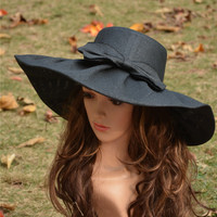 Black  Linen Summer Womens Kentucky Derby Wide Brim Sun Hat Wedding Church Sea Beach