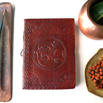 Yoga Zen Om Handmade Leather Journal