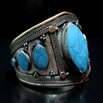 FREE SHIPPING Vintage Kuchi Tribal Turquoise Stone Cuff Bracelet,Turkmen Afghan Jewelry,Antique,Ethnic,Gothic,Carving,German Silver,Handmade