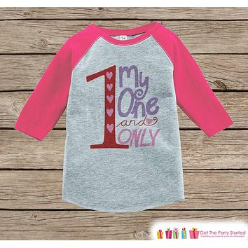 Girls Valentines Day Outfit - Pink Raglan Shirt - My One and Only Onepiece - Novelty Valentine Shirt for Baby Girl - Valentine Raglan Tee
