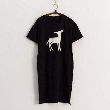 Summer Tshirt Dress Unique Cracked Deer Printed Side Slits Casual Dress Roll Up Sleeve Basic Loose Black Shift T Shirt Dress