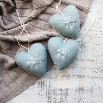 Set of heart ornaments rustic primitive textile Christmas ornaments Christmas decoration gift grey mint blue off white snowflake