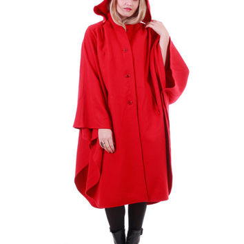 Red Wool Cape Hooded Draped Winter Outerwear Boho Goth Winter Coat 80s 90s Vintage Clothing Womens One Size Fits All
