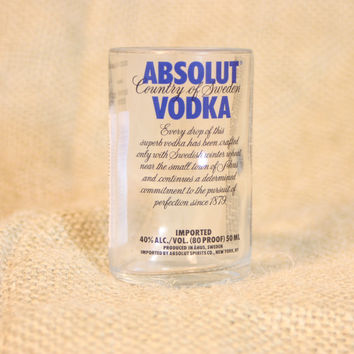 Shot Glass Upcycled From Mini Absolut Vodka Bottle, Liquor Bottle Shot Glass, Recycled Bottle, Bar Ware